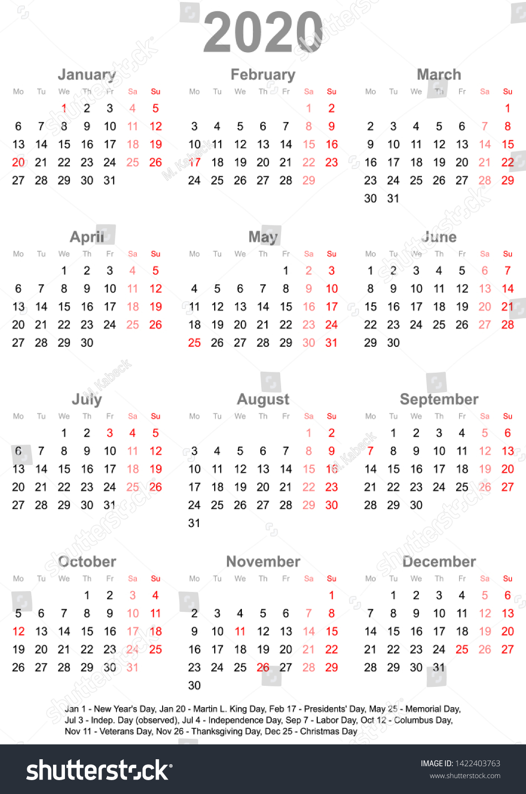 Simple Calendar 2020 One Year Glance | Royalty-Free Stock Image