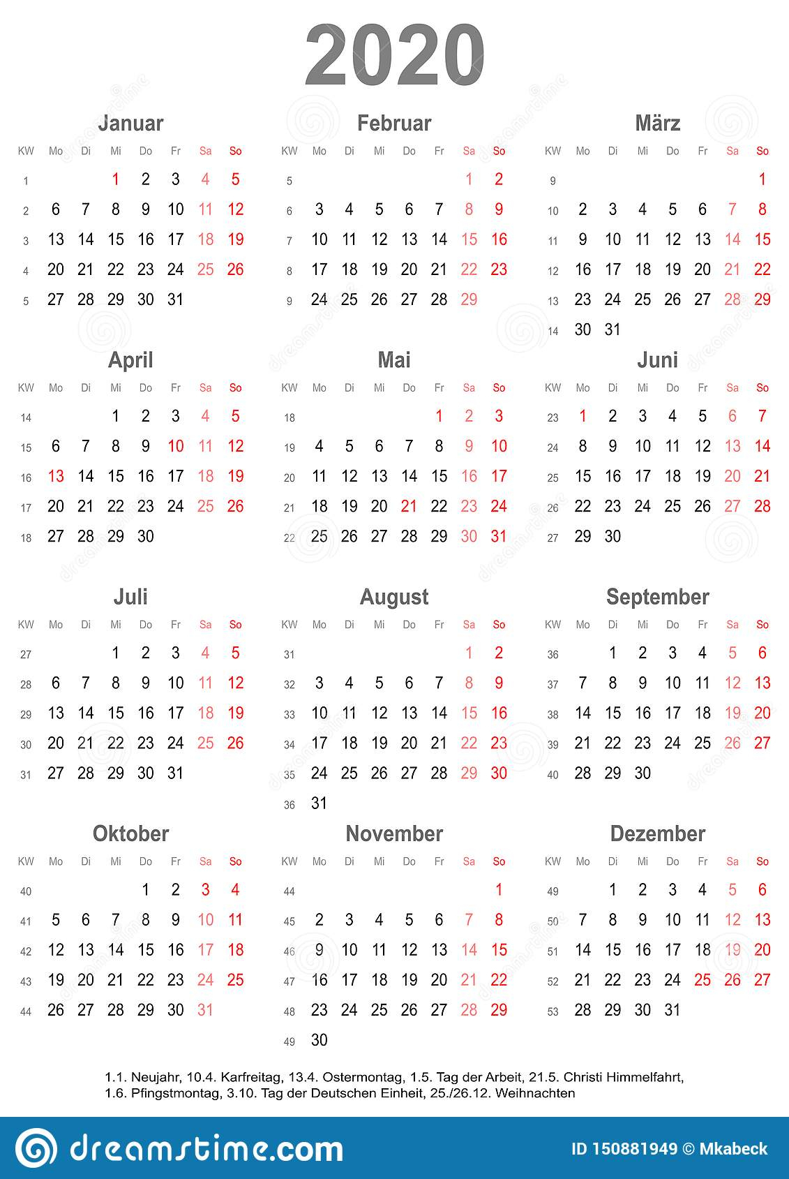Simple Calendar 2020 With Public Holidays For Germany Stock