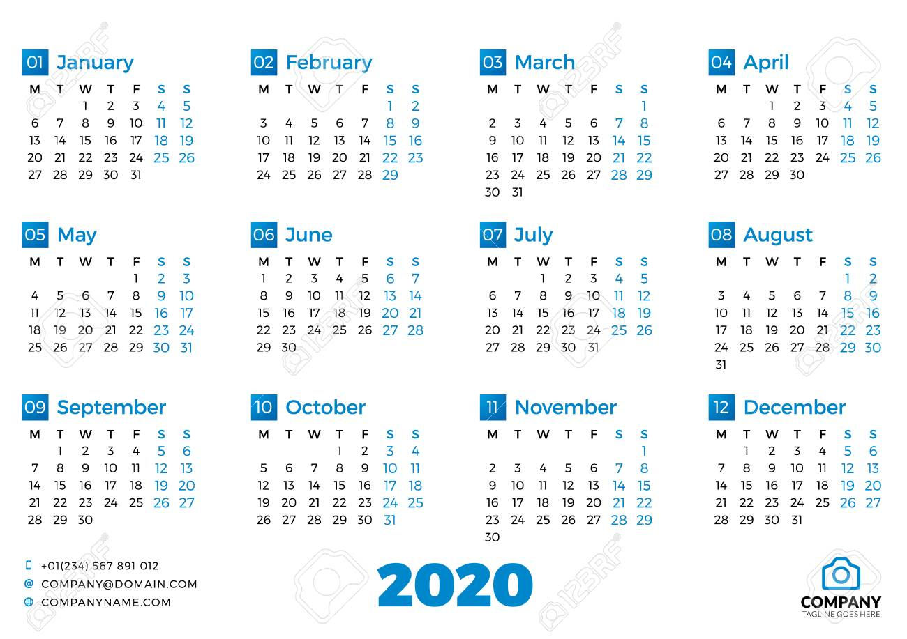 Simple Calendar Template For 2020 Year. Week Starts On Monday