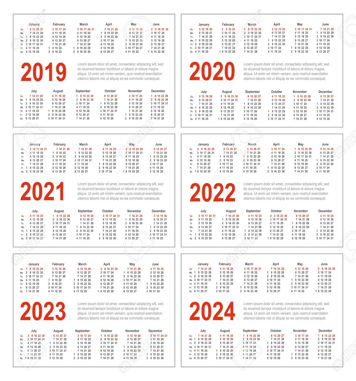 Simple Horizontal Calendar For 2019, 2020, 2021, 2022, 2023 And..