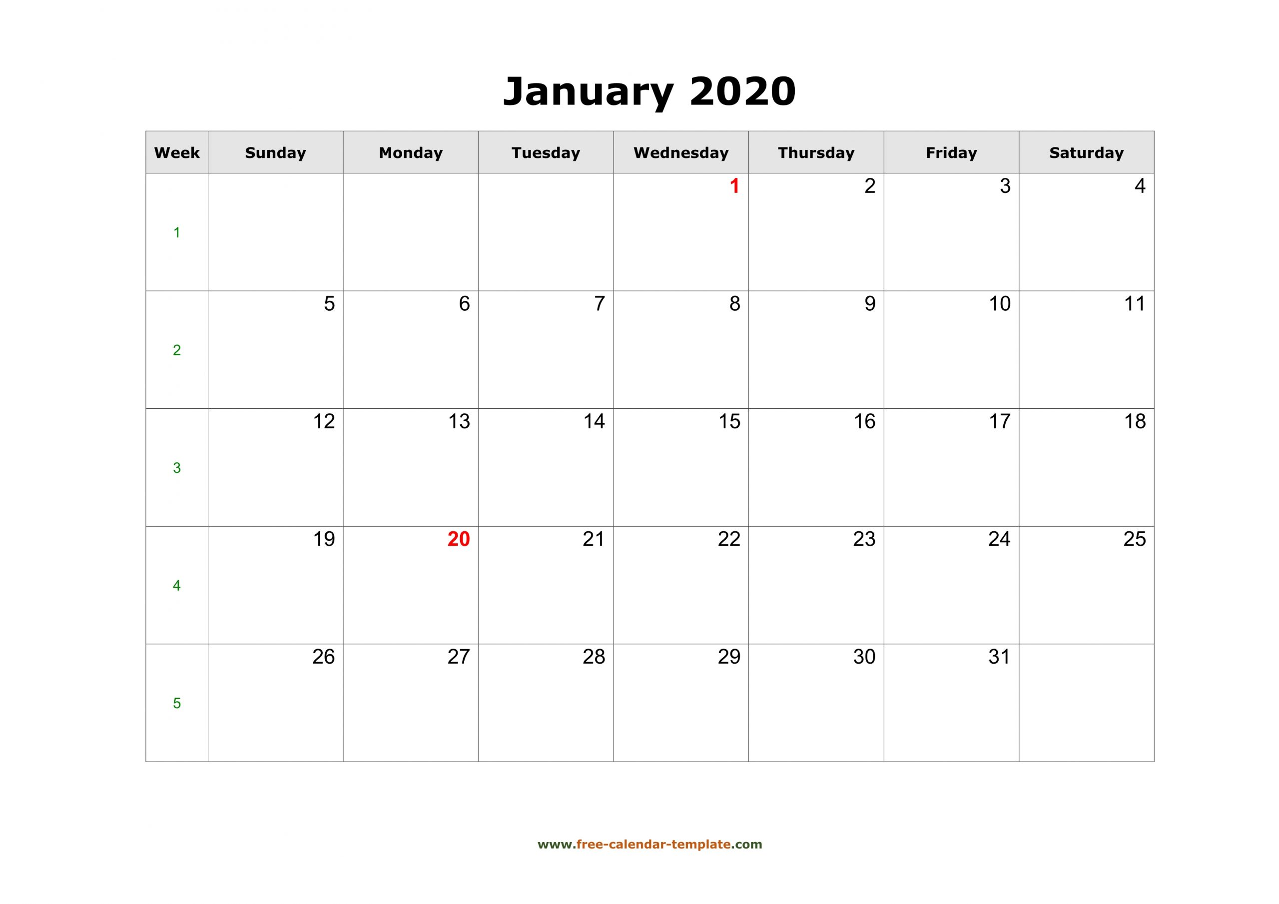 Simple January Calendar 2020 Large Box On Each Day For Notes