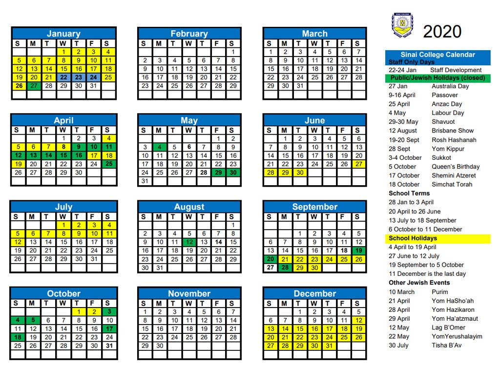 Sinai School Calendar And Events   Sinai College
