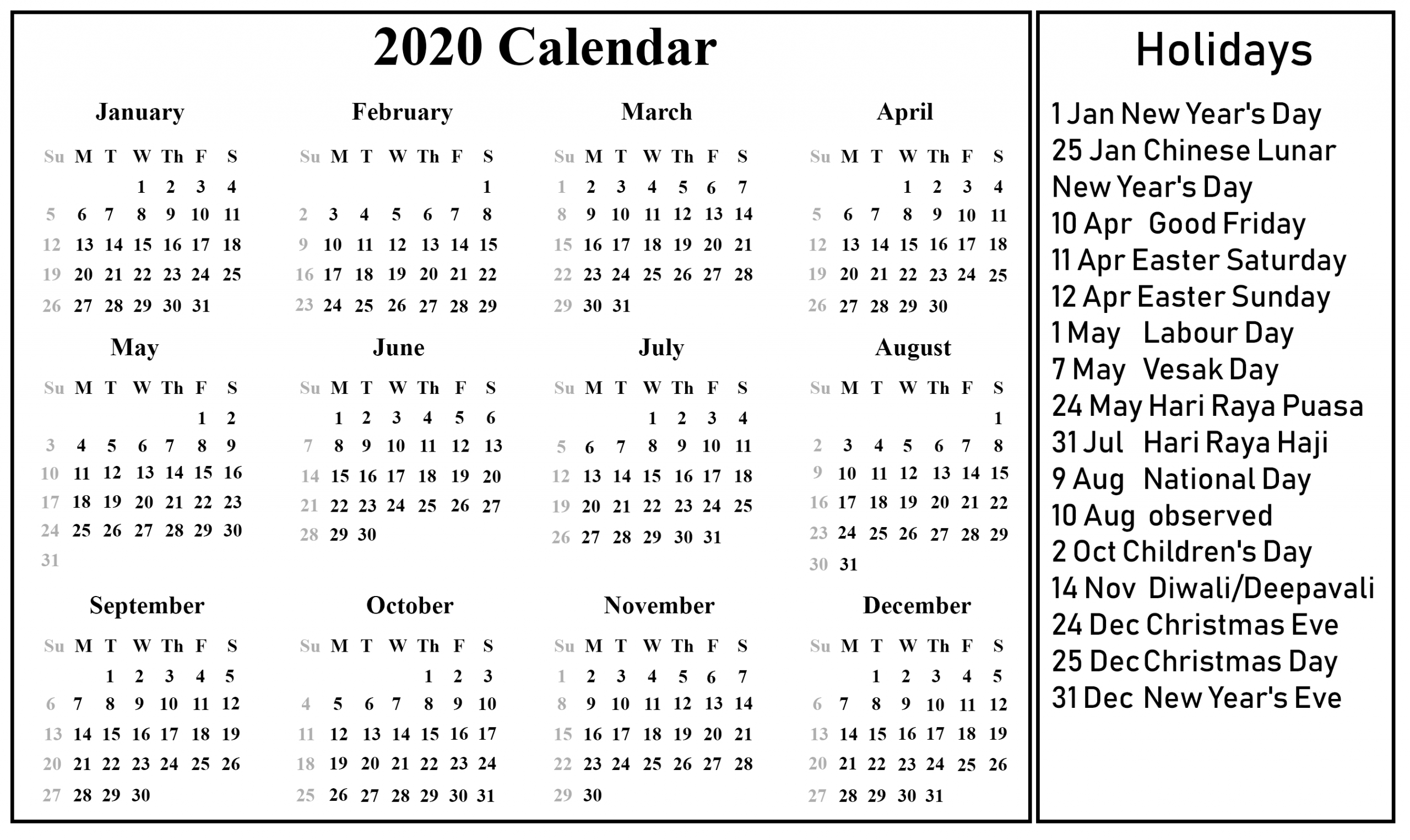 Singapore 2020 Printable Holidays Calendar | Free Printable