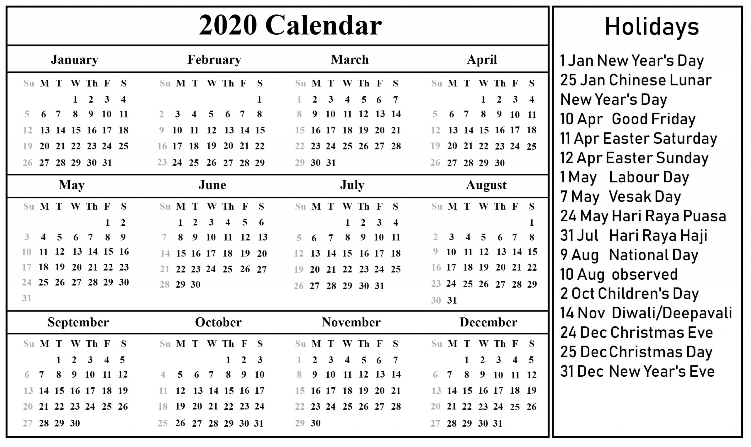 Singapore Calendar 2020 | Printable September Calendar Template