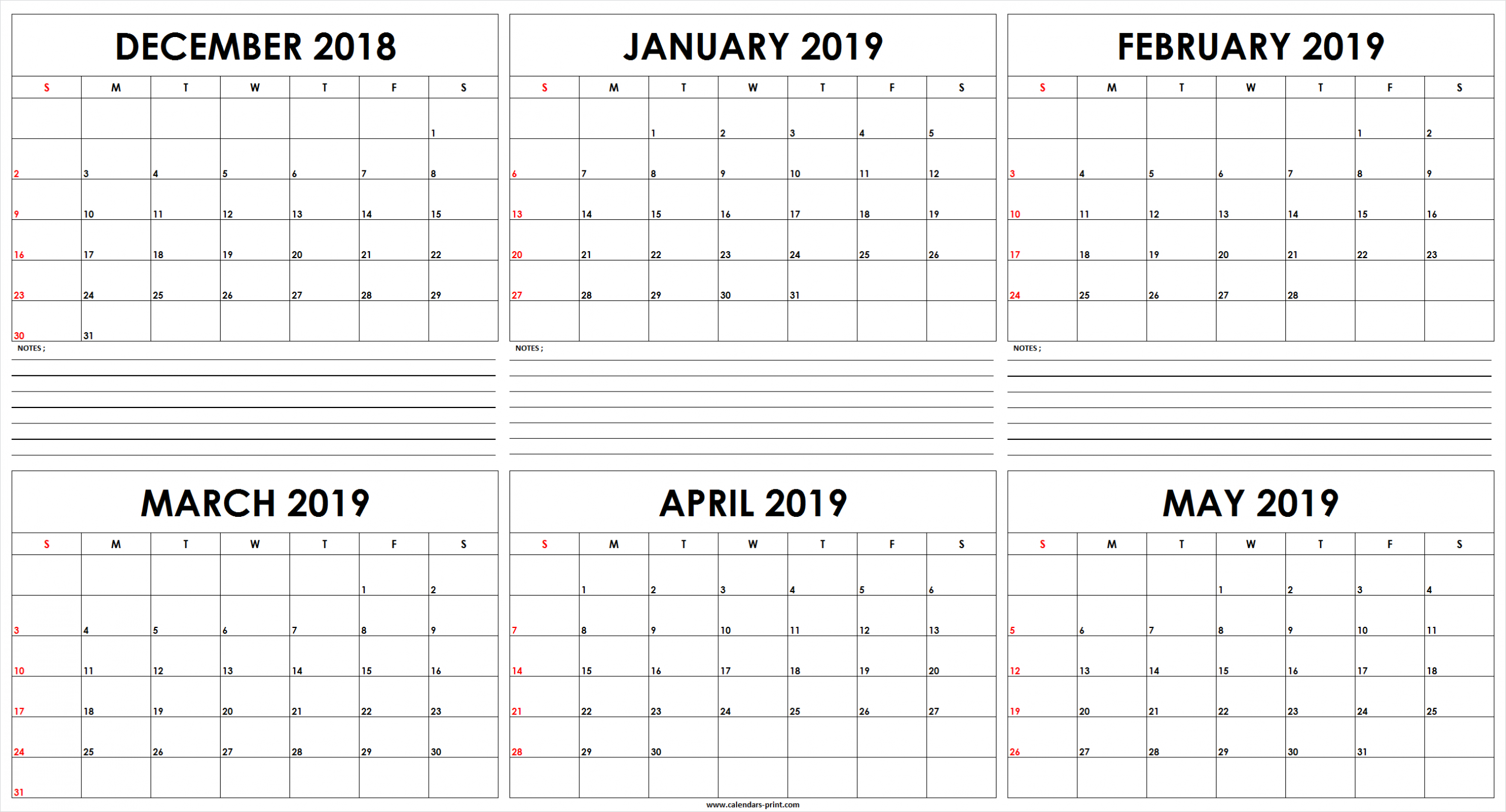 Six Monthly December 2018 To May 2019 Calendar Template