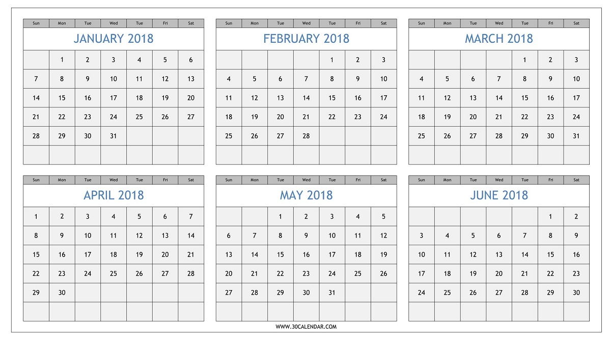 Six Months January To June 2018 Calendar Printable Template