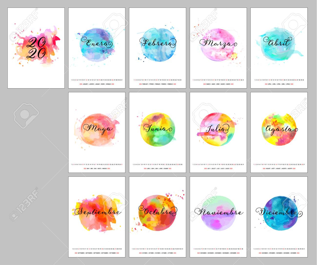 Spanish Calendar Design For The Year 2020, A Template With Calligraphy,..