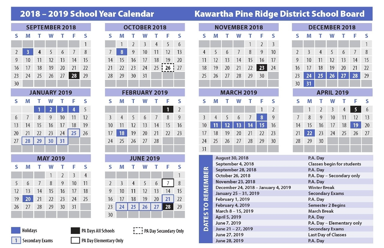 Special Days In The School Year 2019-2020 - Calendar