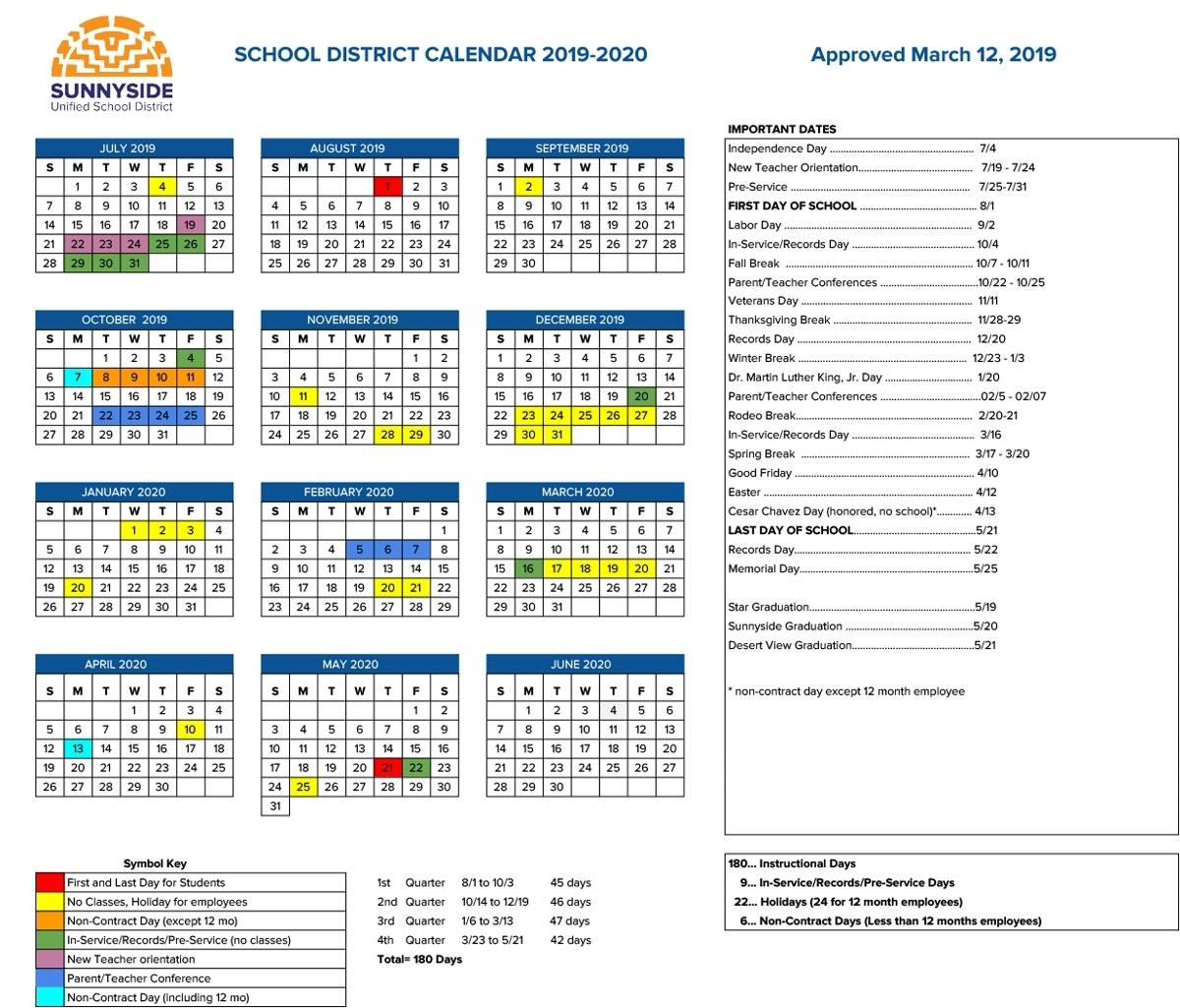 Special Days In The School Year 2019-2020 - Calendar