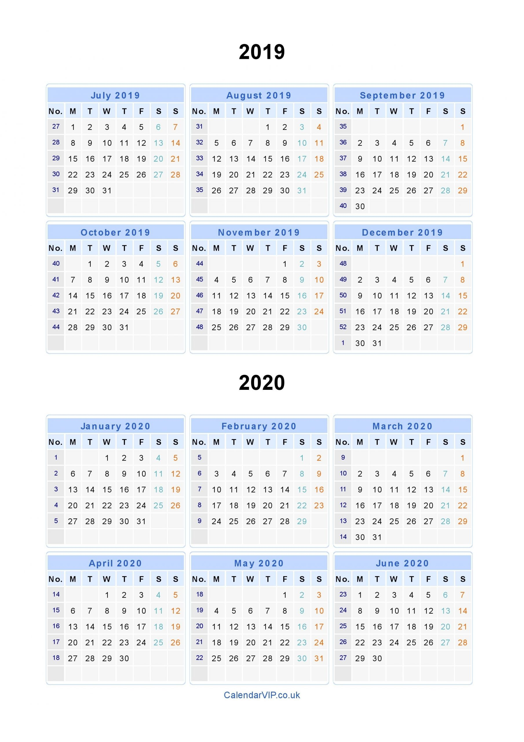 Split Year Calendars 2019 2020 - Calendar From July 2019 To