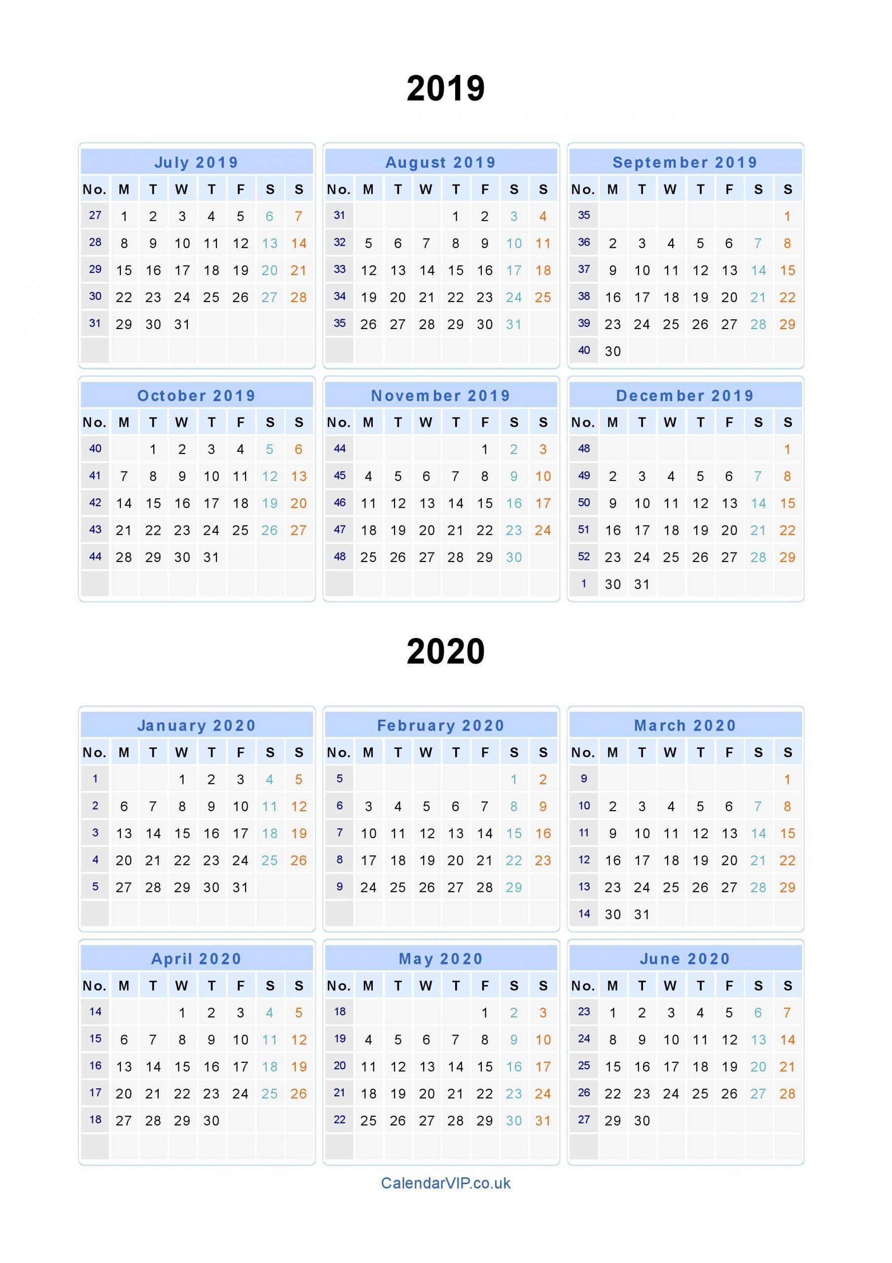 Split Year Calendars 2019 2020 - Calendar From July 2019 To