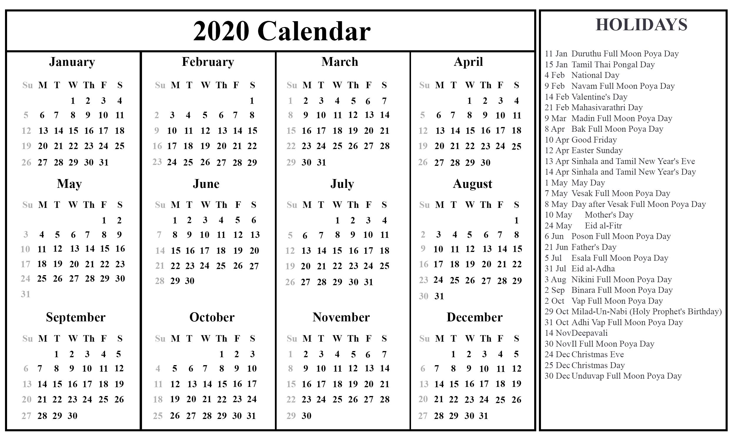 Sri Lanka 2020 Printable Calendar | Printable Calendar