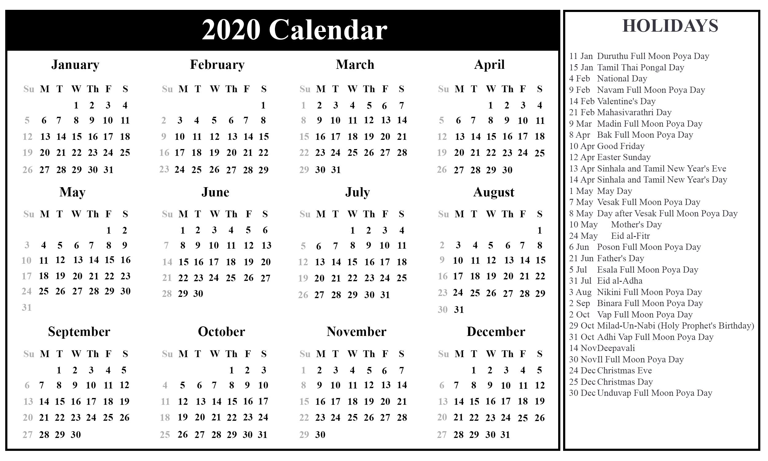 Srilanka-Holiday-2020-2 | Printable Template Calendar