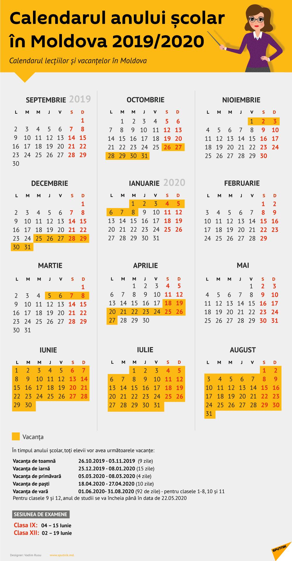 Structura Anului Școlar 2019 Și 2020 - Calendar Moldova