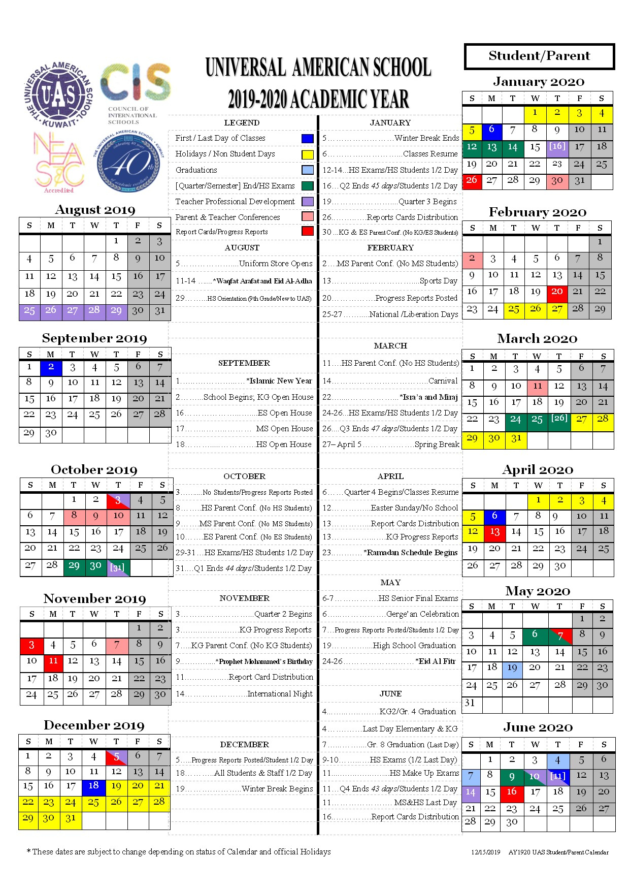 Students Calendar 2019-2020 - Universal American School