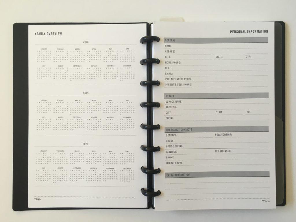 Sunday Start 2020 Monthly Dated Planner Inserts Discbound