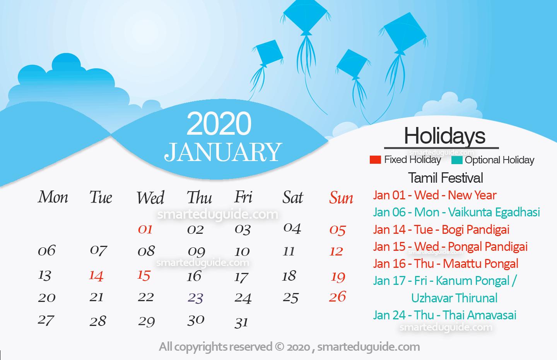Tamil Calendar 2020 January,dates,information & Muhurtham