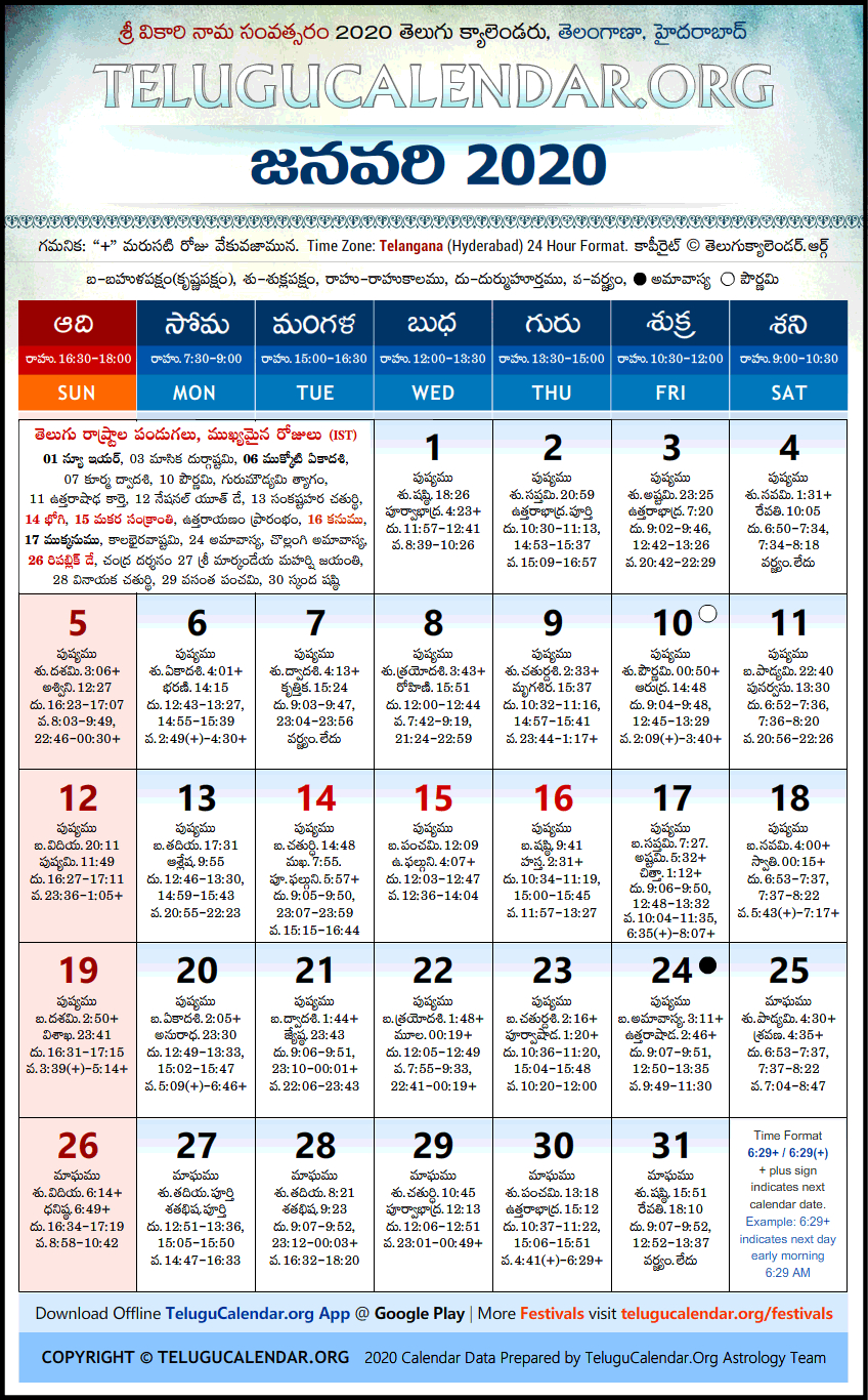 Telangana | Telugu Calendars 2020 January Festivals Pdf