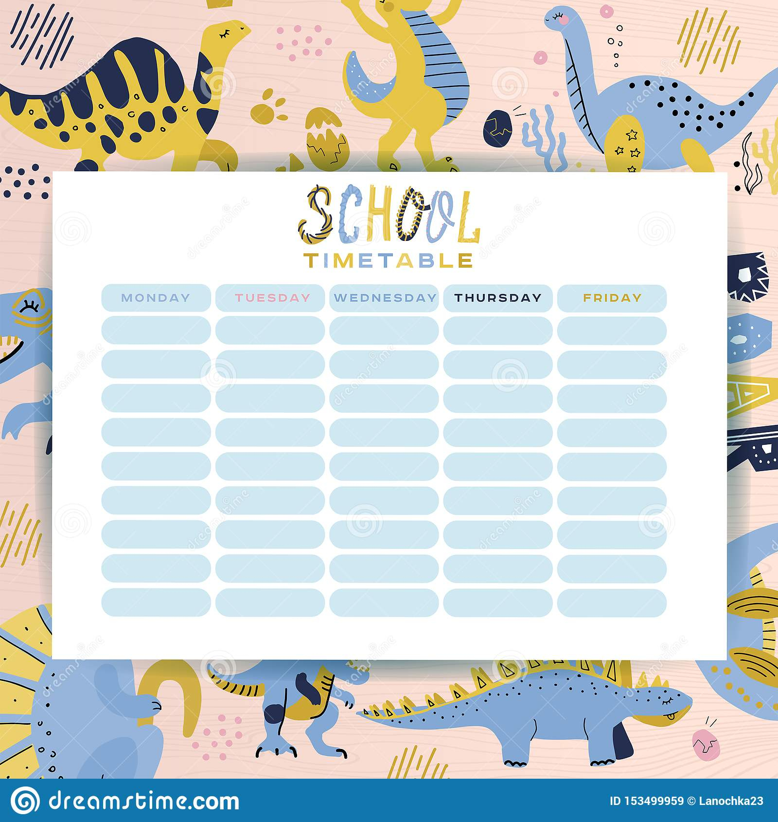 Template School Timetable. Schedule Of Lessons In The School