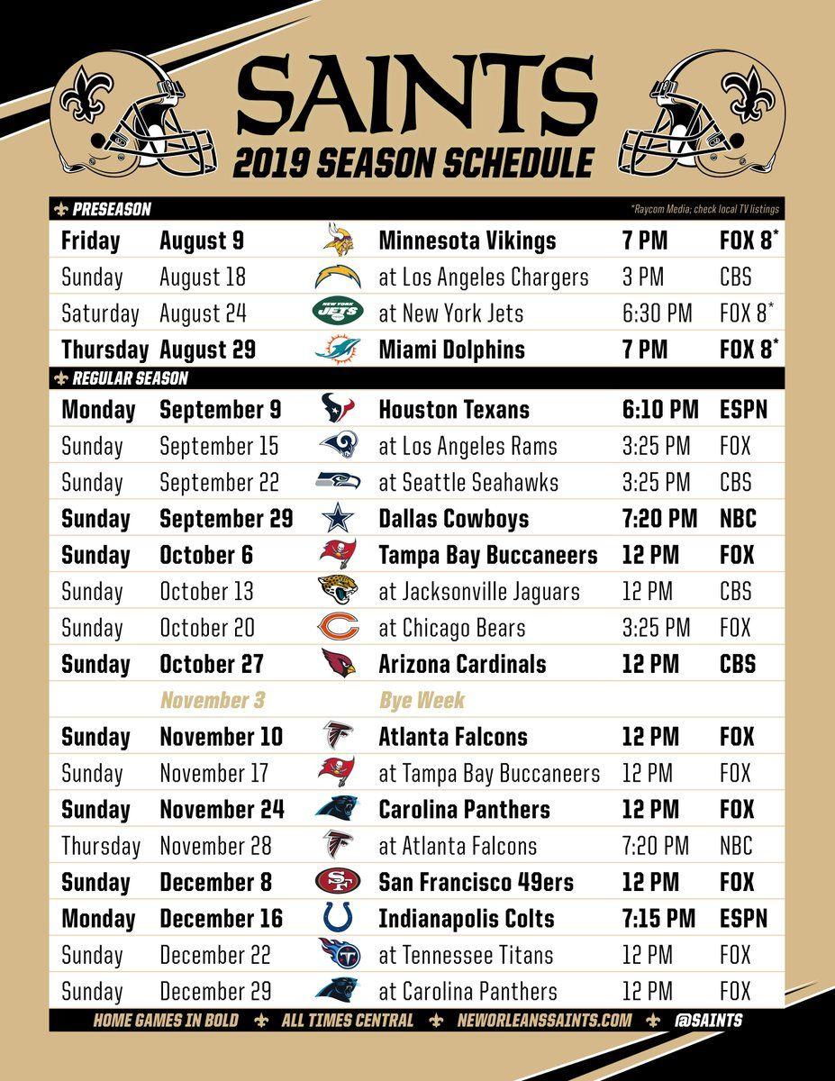 The #saints 2019 Schedule! | Saints Football Schedule
