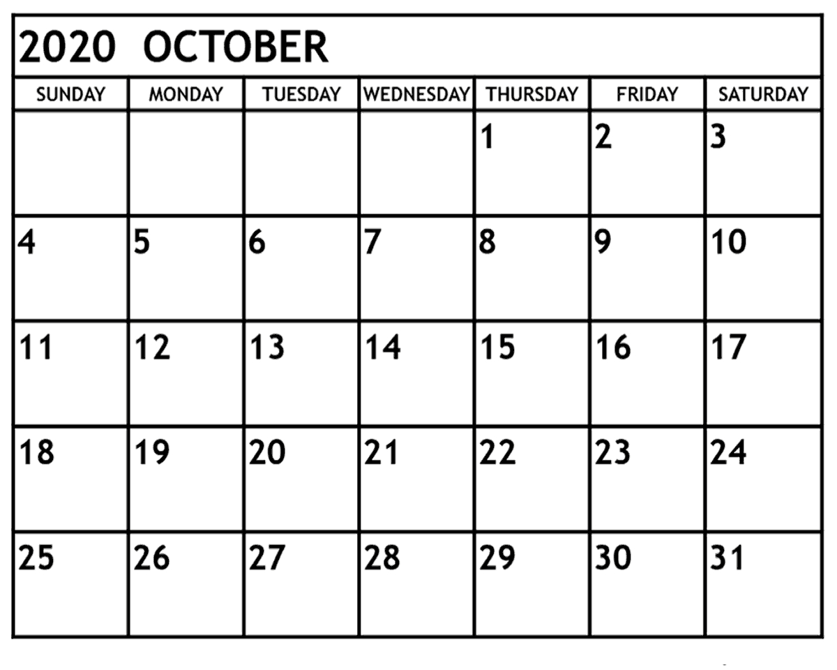 The Ultimate Guide To October 2020 Calendar Printable