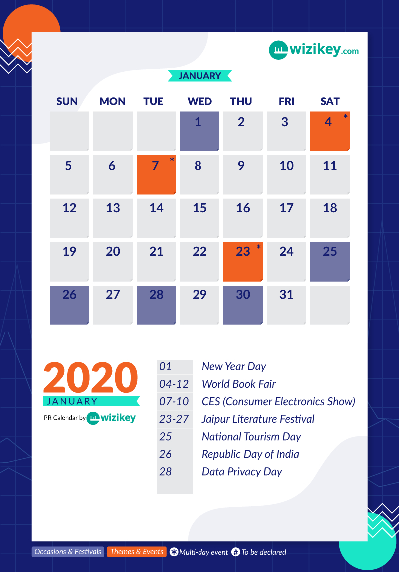 The Ultimate Pr Calendar 2020 For India | Wizikey