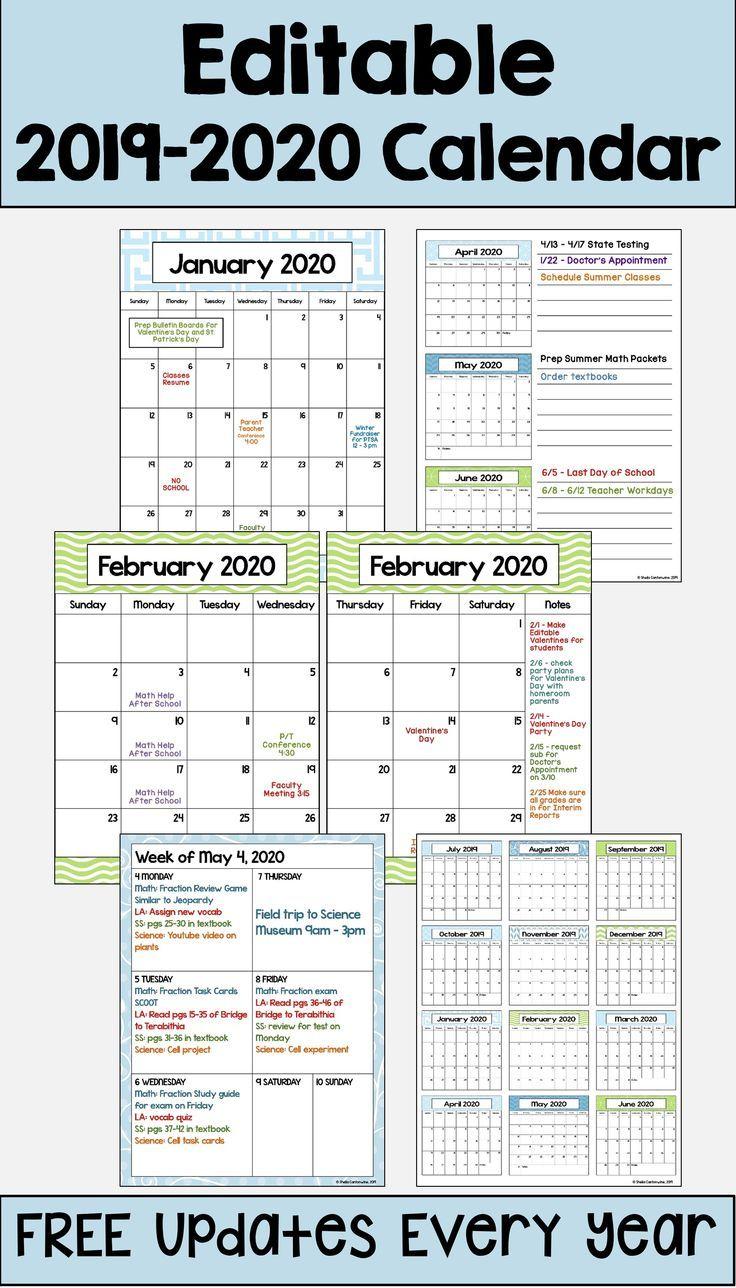 This 2019 – 2020 Editable Calendar Template Is Printable And