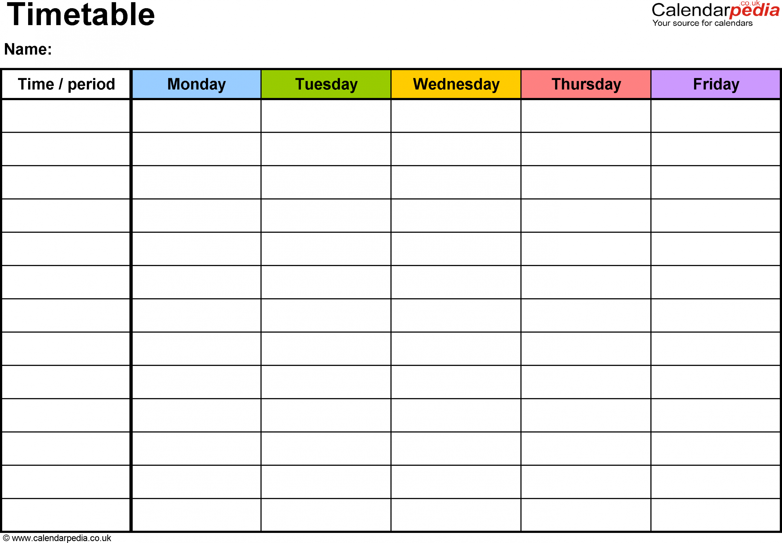 Timetable Template Word - Togo.wpart.co