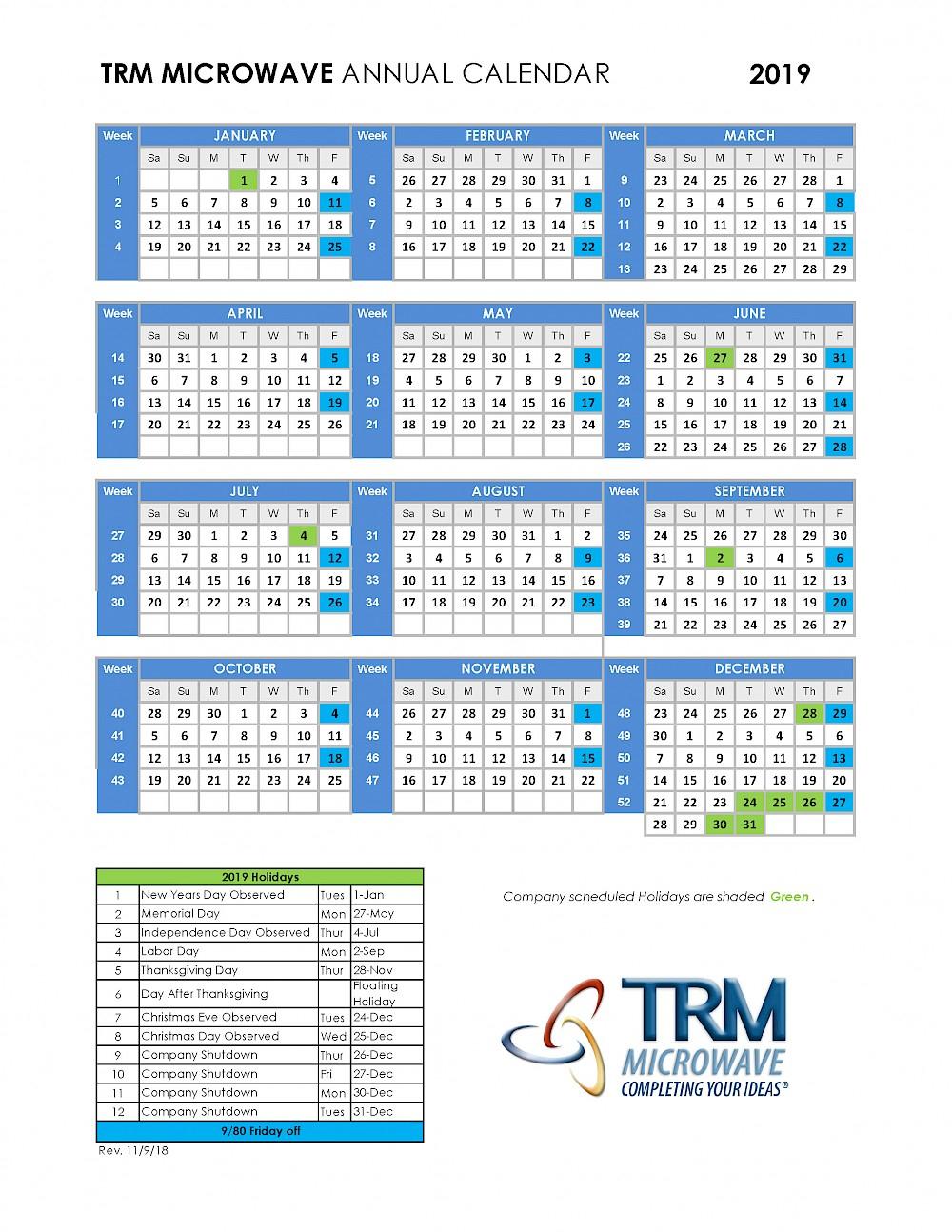 Collect 2019 9/80 Calendar