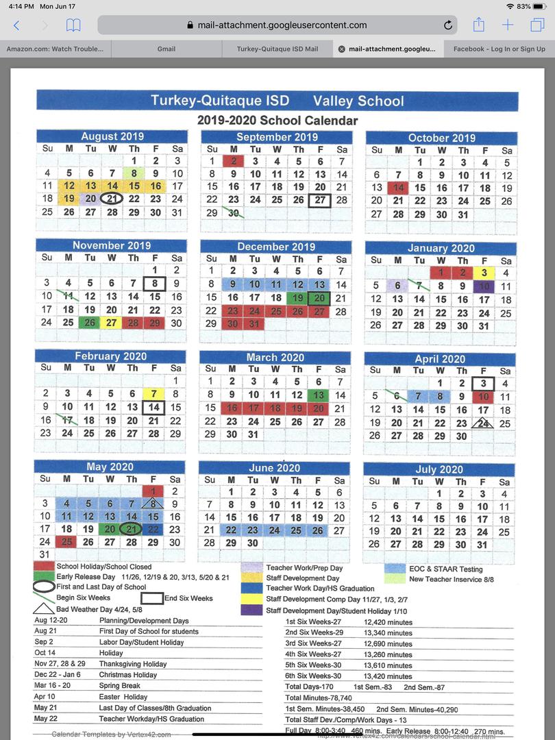 Turkey-Quitaque Isd - 2019-2020 Valley School Calendar