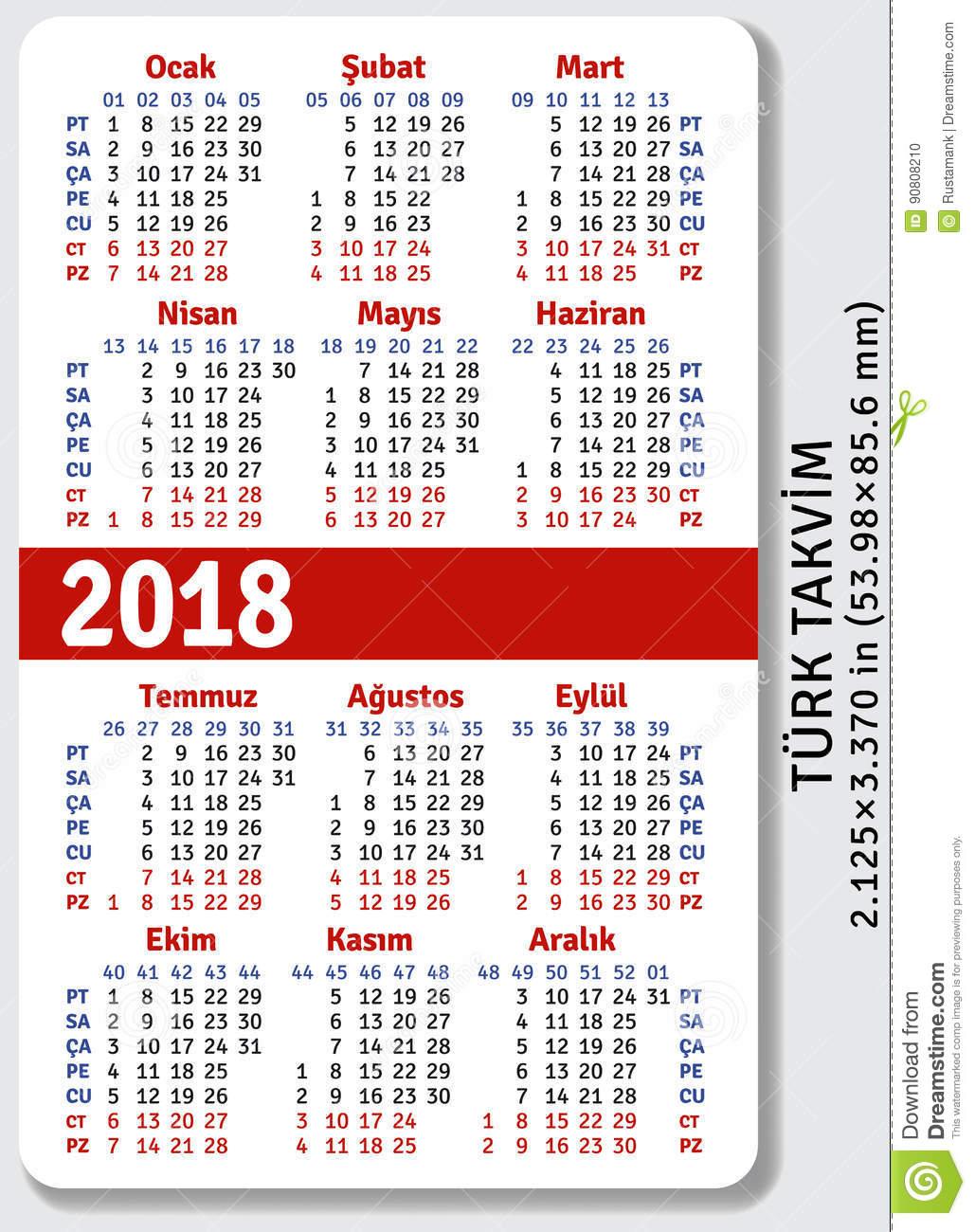 Turkish Pocket Calendar For 2018 Stock Vector - Illustration