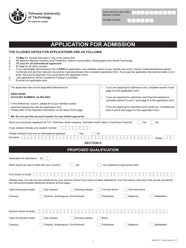Tut Online Application 2020 - Fill Online, Printable