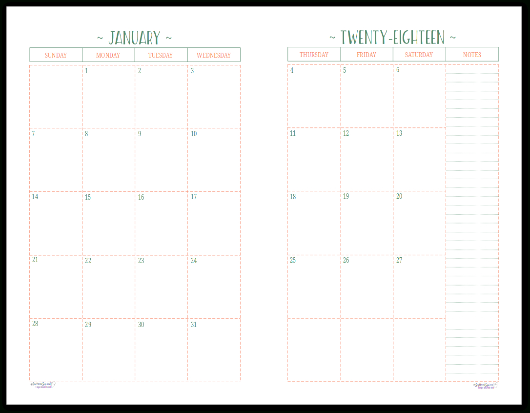 Take Calendar Half Pages Printable