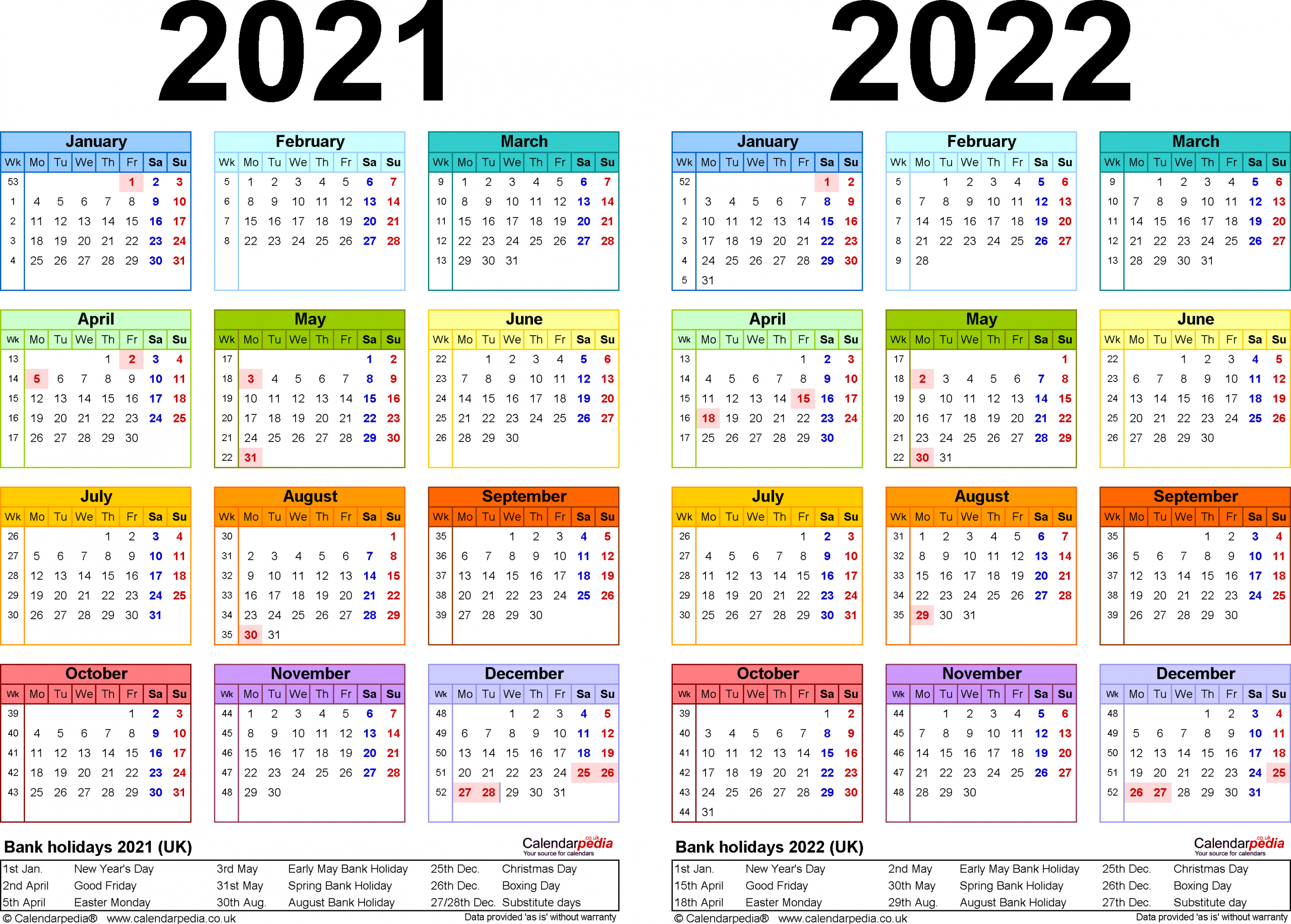 Two Year Calendars For 2021 & 2022 (Uk) For Excel