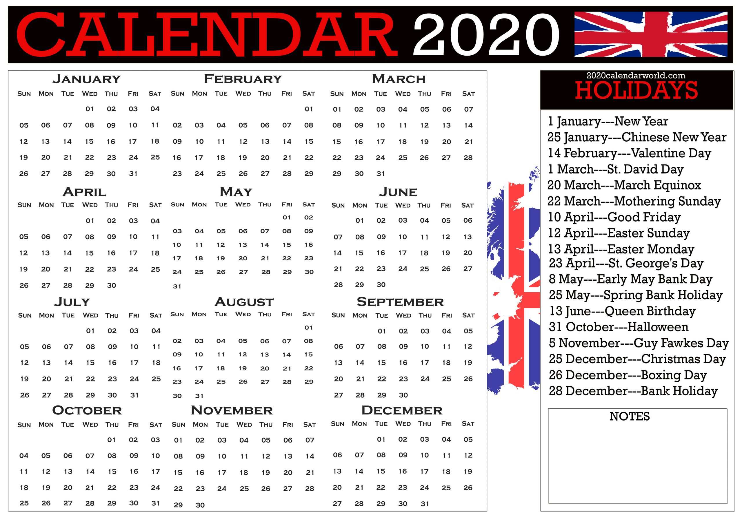 Uk 2020 Calendar With Holidays Printable Template Pdf & Word