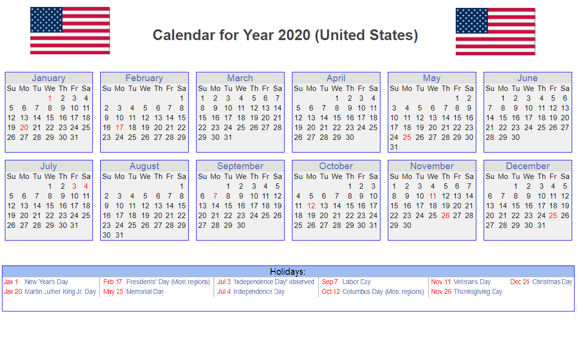 Us 2020 Calendar Yearly 12 Month Printable | Calendar 2020