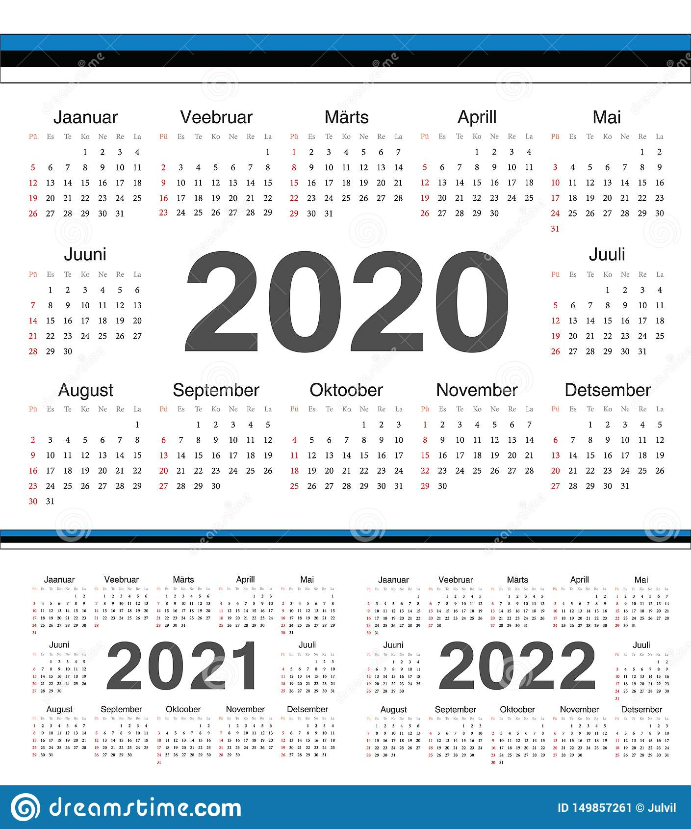 Vector Estonian Circle Calendars 2020, 2021, 2022 Stock