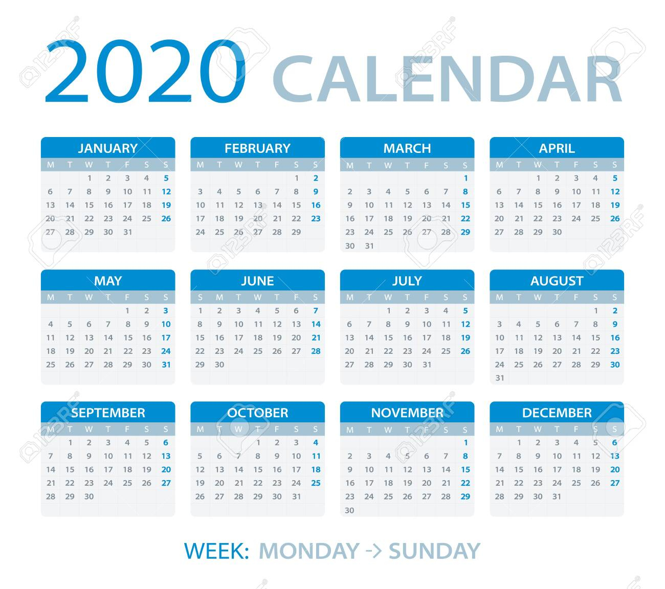 Vector Template Of Color 2020 Calendar - Monday To Sunday