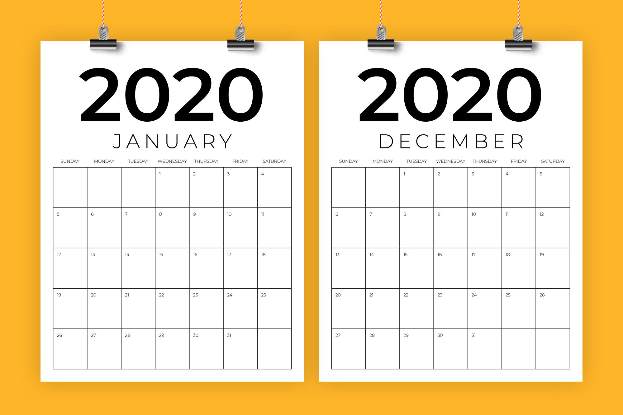 Vertical 8.5 X 11 Inch 2020 Calendar