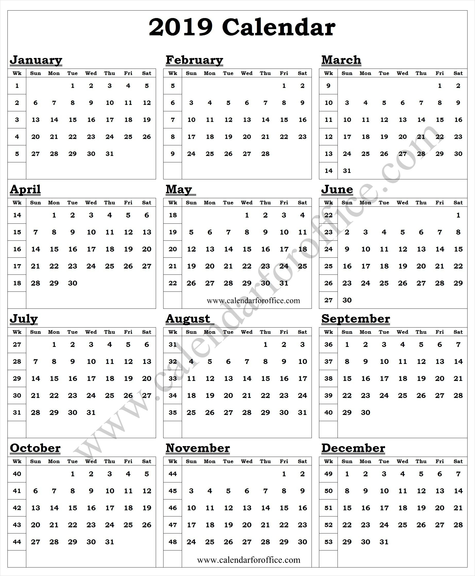Week Of The Year Number Calendar - Calendar Inspiration Design