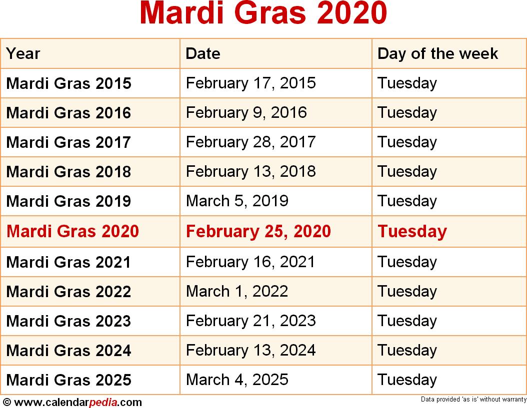When Is Mardi Gras 2020 & 2021? Dates Of Mardi Gras