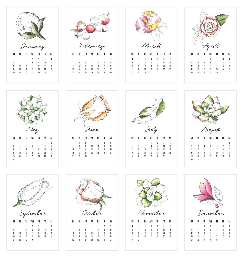 Wildflower Desk Calendar 2020, Hand Drawn Floral Calendar
