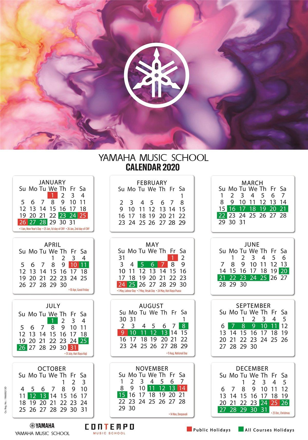 Yamaha Course Calendar 2020 - Yamaha - Singapore