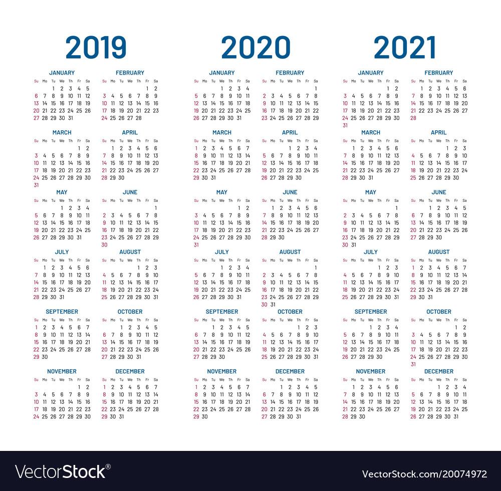 Year 2019 2020 2021 Calendar