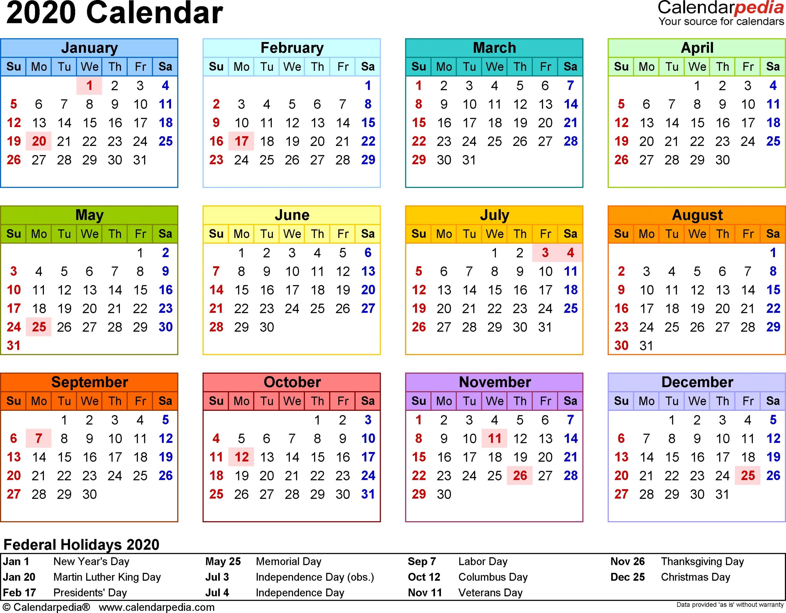 Year At A Glance 2020 - Calendar Inspiration Design