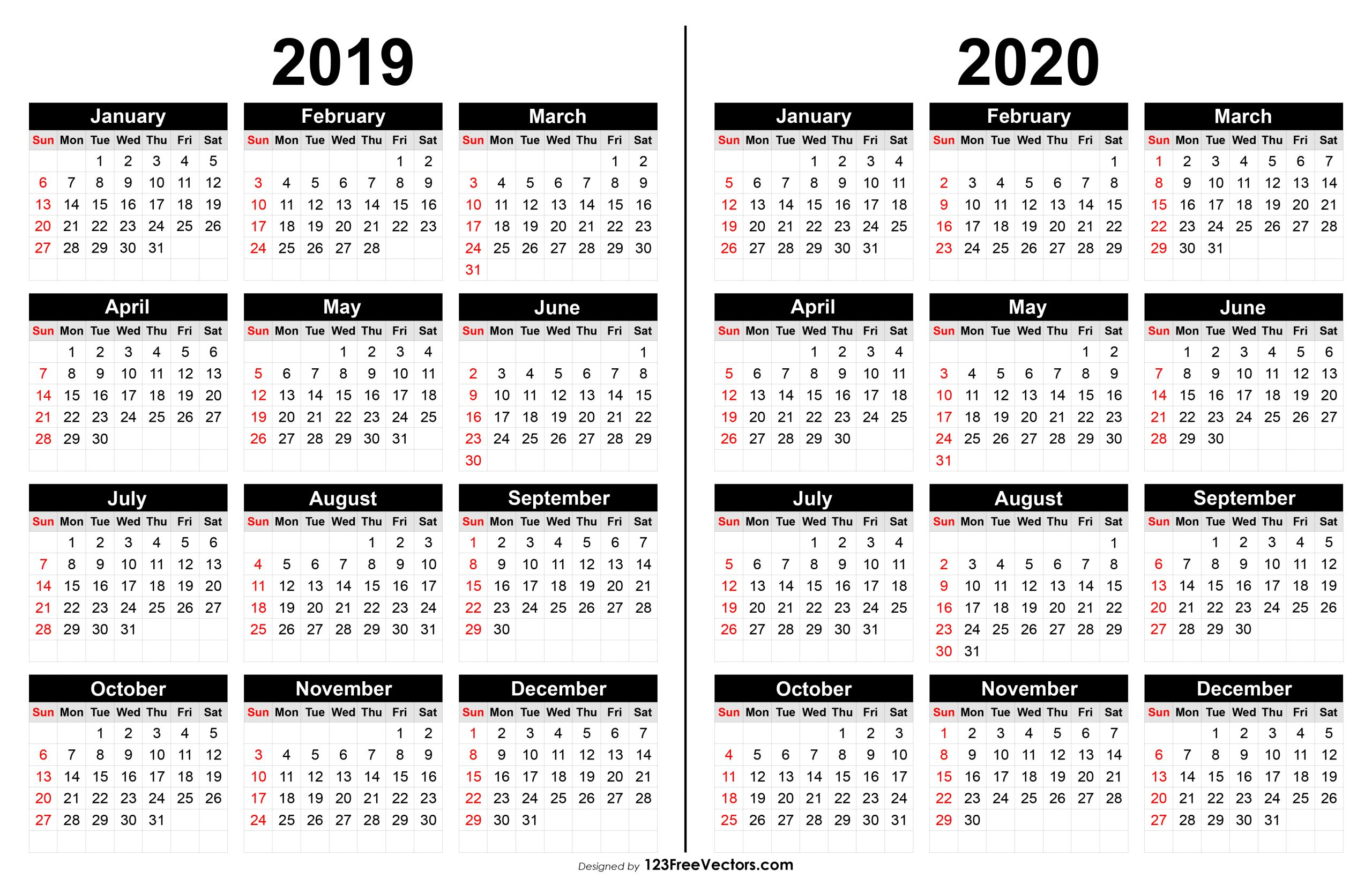 Year Long Calendar 2020 - Togo.wpart.co