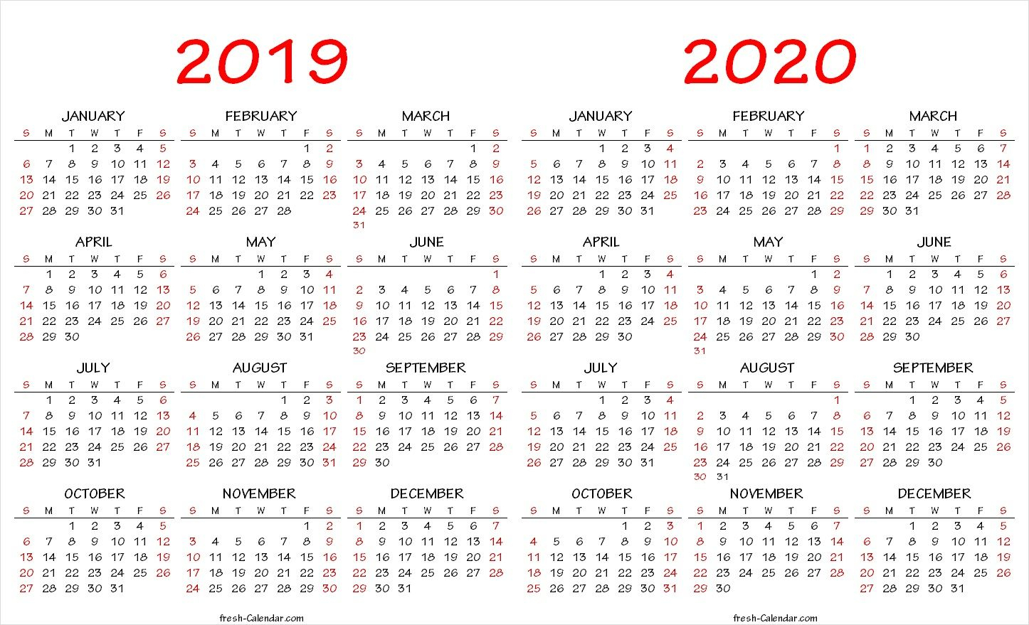 Year Long Calendar 2020 - Togo.wpart.co