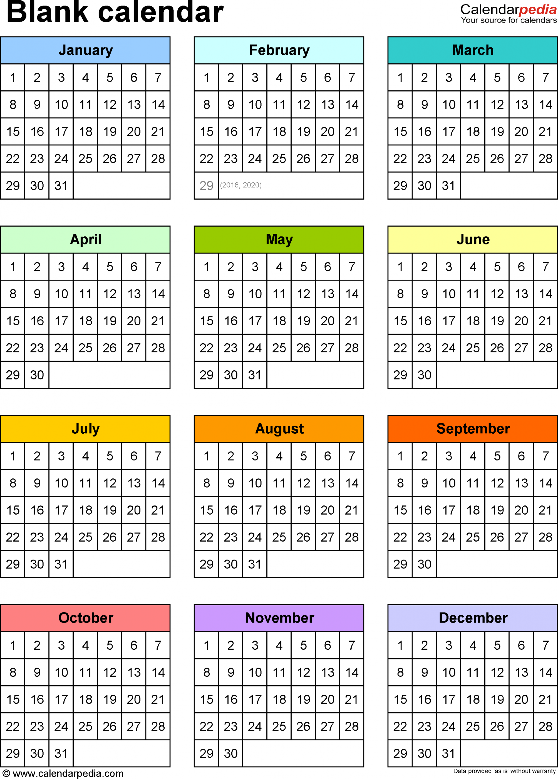 Year To A Page Calendar - Togo.wpart.co