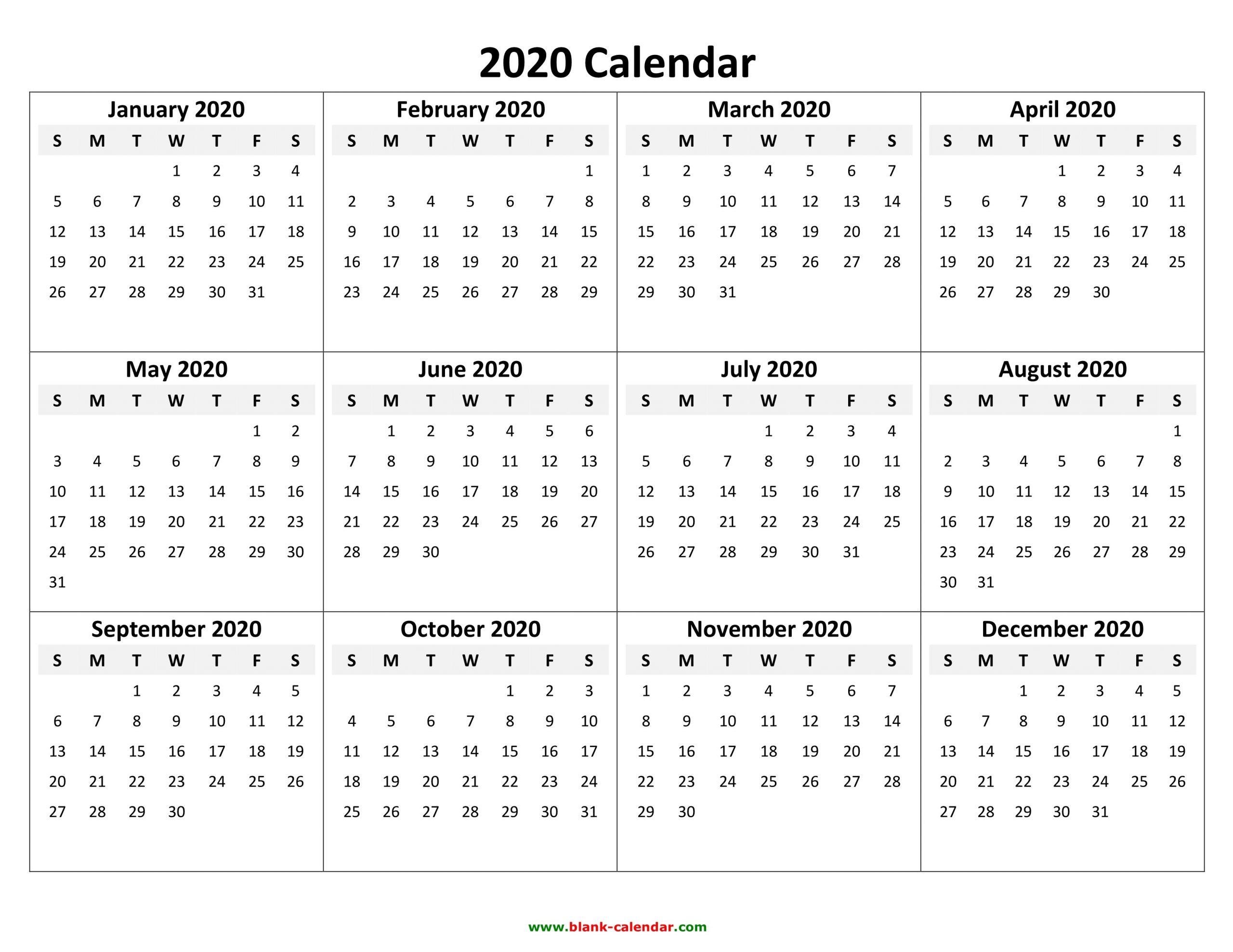 Year To View Calendar 2020 Printable | Free Printable
