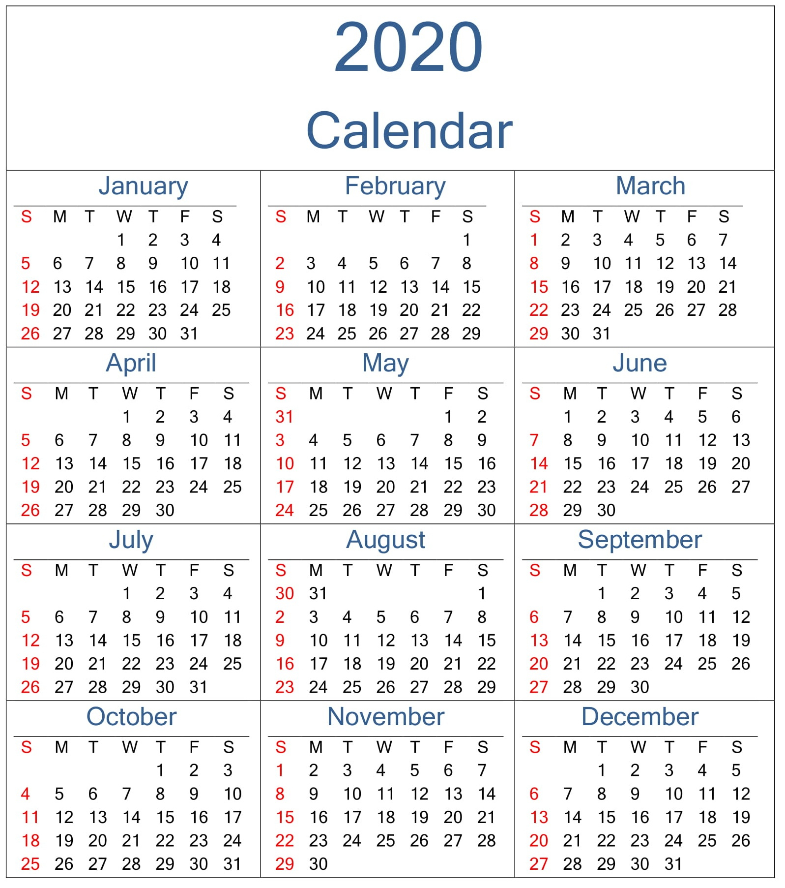 Yearly 2020 Calendar Excel Template - Latest Printable